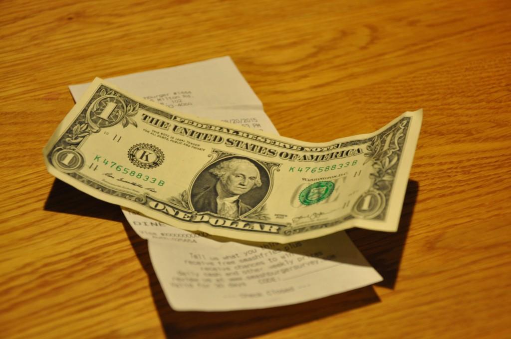 Drikkepenge kontant i USA